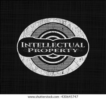 Intellectual property written on a blackboard - stock vector