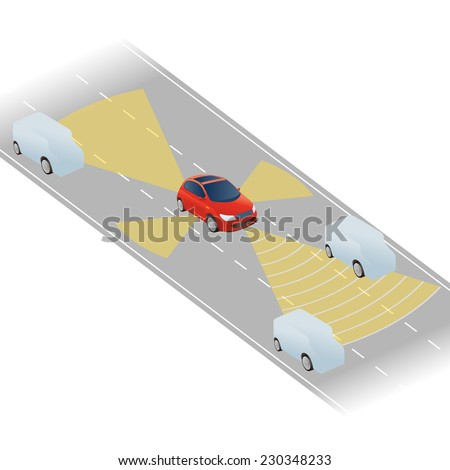 intelligent and safety car image, vector - stock vector