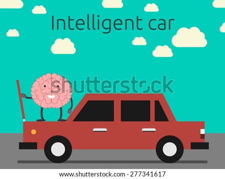 Intelligent car concept. Brain character coming out car's hood. EPS 10 vector illustration, no transparency - stock vector