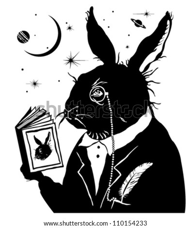Intelligent rabbit reading a book. - stock vector