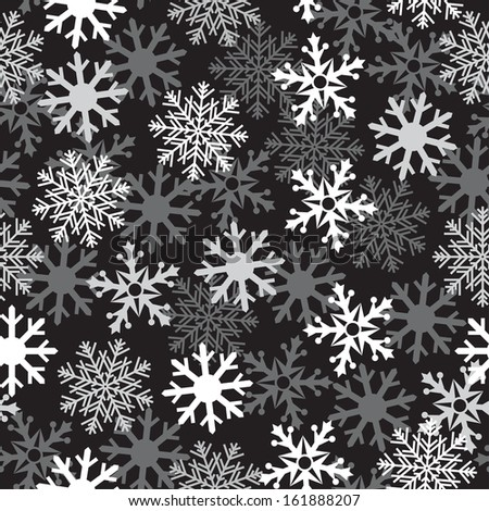 Intense white snow dark background pattern for texture on a winter theme - stock vector