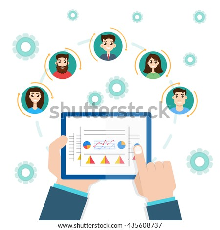 interaction structure. Project management concept. Remote business. - stock vector