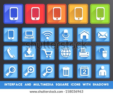 Interface and Multimedia Square Icons with Shadows. - stock vector