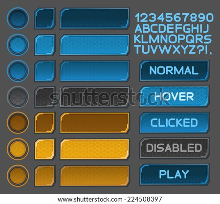 Interface buttons set for space games or apps. Vector illustration. Easy to edit. Isolated on gray - stock vector