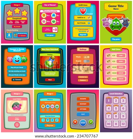 Interface game design. Game UI for web design and computer games.  Vector eps 10. - stock vector