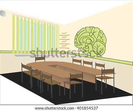Interior audience psychology. Perspective view. The letter psi and abstract brain. Rectangular table. Meeting room. Cabinet psychologist. Vector illustration. - stock vector