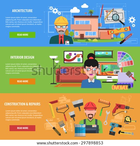 Interior banner horizontal set with architecture construction and repairs flat elements isolated vector illustration - stock vector