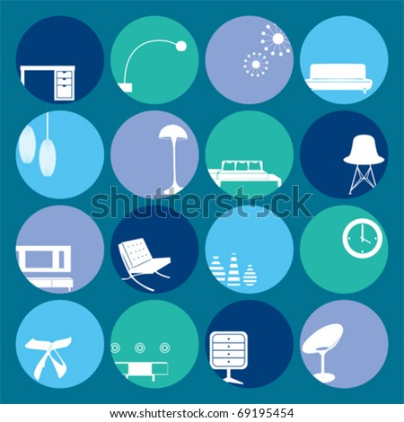 Interior Blue Ornaments set. Illustration vector - stock vector