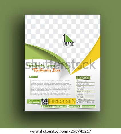 Interior Decorator Flyer Template  - stock vector