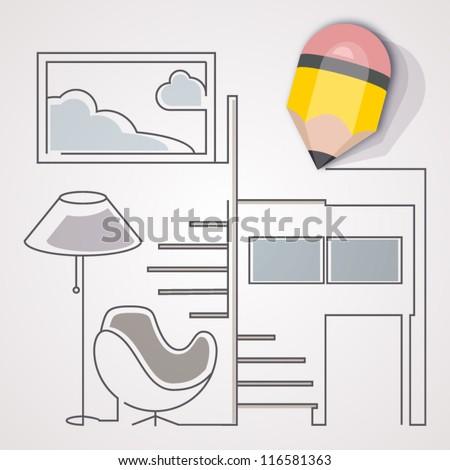 Interior design concept. A pencil sketching interior design. - stock vector