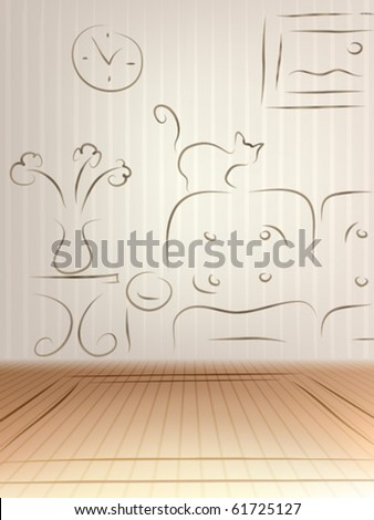 Interior design concept � empty room with a sketch drawn on the wall - stock vector