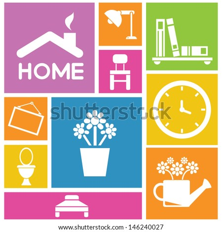 interior design, home icons, furniture icons, background - stock vector