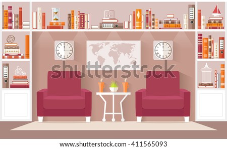 Interior design living room in the flat style. Vector illustration. Interior Concept. The living room, an office or a library with furniture, bookcases. - stock vector