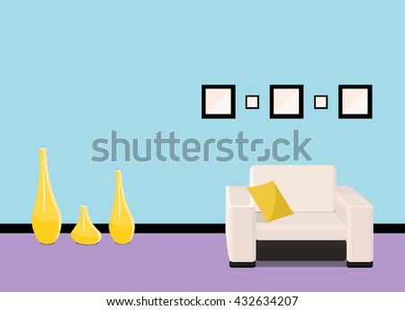 Interior design of colorful living room background. Furniture: mirror, armchair, cupboard, design bottles, pillow, design squares. Vector flat style illustration. - stock vector