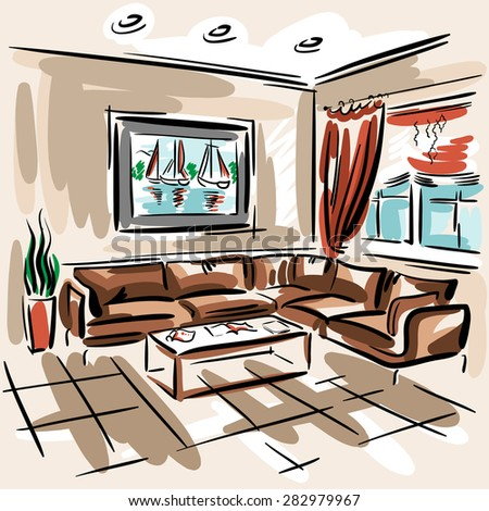 Interior design of the living room with big couch, red blinds and picture with sailboats. Hand drawn sketch. - stock vector
