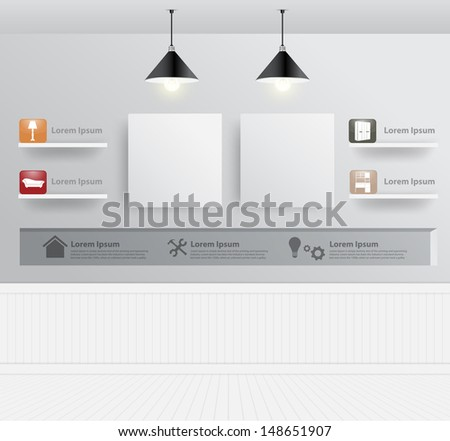 Interior design with home furniture icons, Vector illustration modern template design - stock vector