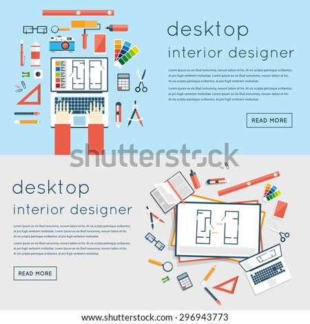 Interior designer workplace. Interior designer planning on laptop top view. Interior design project, architectural plan, technical project. Engineering for interior design. 2 banners. Flat design - stock vector