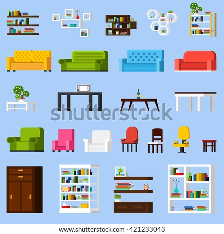 Interior elements orthogonal icon set of different bookshelves sofas tables armchairs chairs and racks isolated vector illustration - stock vector