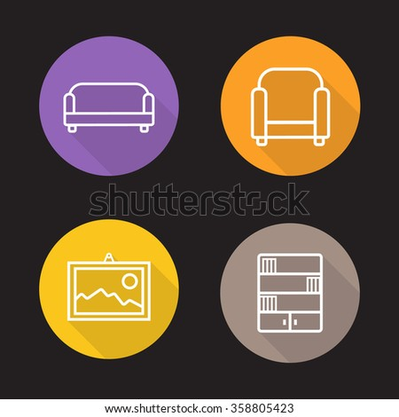Interior flat linear icons set. Sofa, armchair, wall picture and bookcase. Living room furniture symbols. Long shadow outline logo concepts. Vector line art illustrations - stock vector