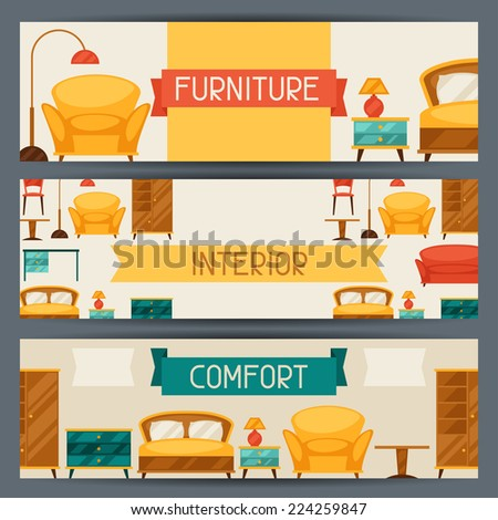 Interior horizontal banners with furniture in retro style. - stock vector