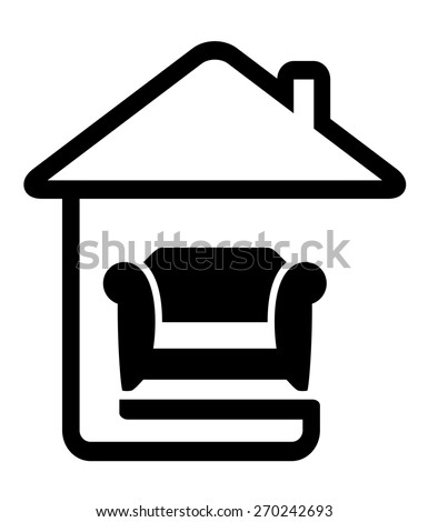 interior icon with armchair on home line silhouette - stock vector