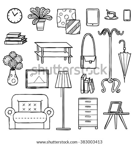 interior icons set, hand drawn, doodle sketch style, vector illustration. - stock vector