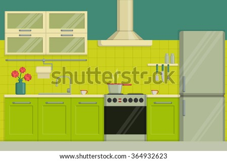 Interior illustration of a modern lime colored kitchen including furniture, oven, kitchen hood, utensils, fridge. - stock vector