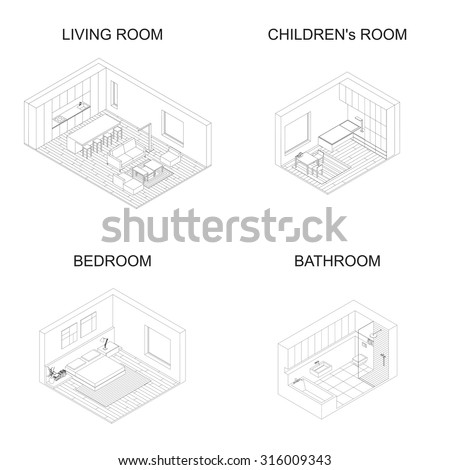 Interior isometric vector rooms. Line drawings of living room with kitchen, bedroom, children's room and bathroom. - stock vector