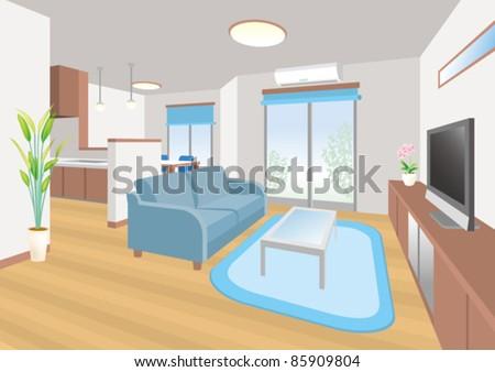 Interior / Living room - stock vector