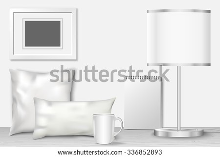 Interior mock up for presentation patterns and prints. Vector illustration with realistic white home objects with shadows - stock vector