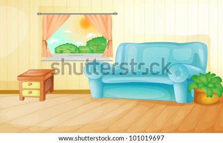 Interior of a house living room - stock vector
