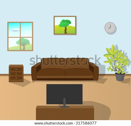 Interior of a living room. - stock vector