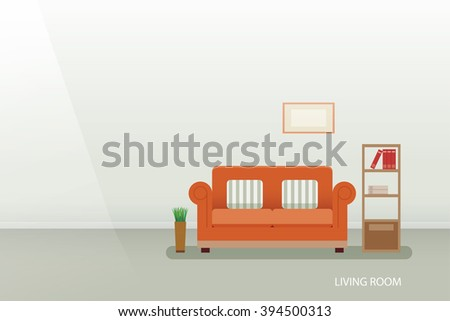 interior of a living room flat design - stock vector