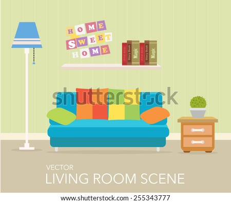 Interior of a living room. Modern flat design illustration - stock vector