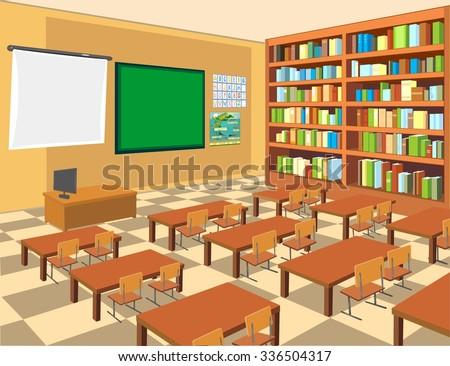 interior of classroom - stock vector