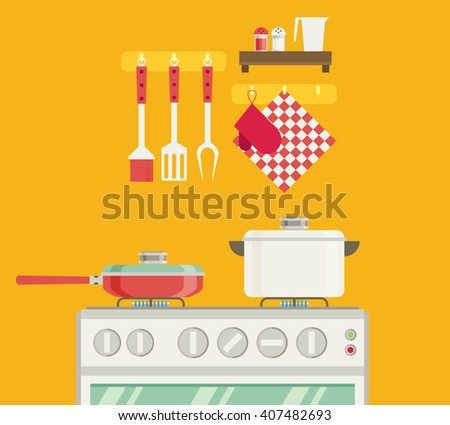 Interior of kitchen, pans on the stove, cooking. Vector illustration in flat style - stock vector