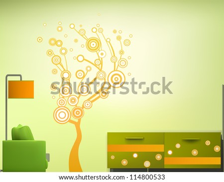 Interior of the room in the green-orange style. Vector illustration - stock vector