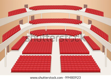 interior of theater hall color plan vector - stock vector