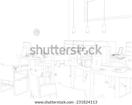 Interior Office Rooms Vector 15  - stock vector