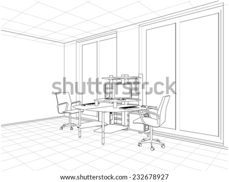 Interior Office Rooms Vector 22 - stock vector