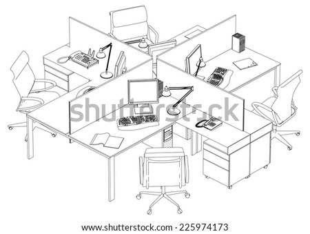 Interior Office Working Place Vector 17 - stock vector