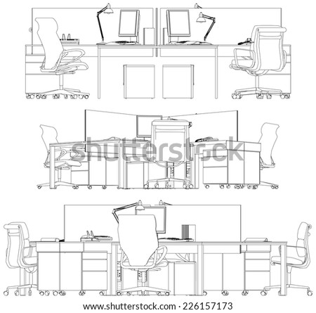 Interior Office Working Place Vector 18 - stock vector