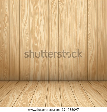 Interior room with wooden wall and floor. Wooden interior. Vector illustration EPS 10. - stock vector