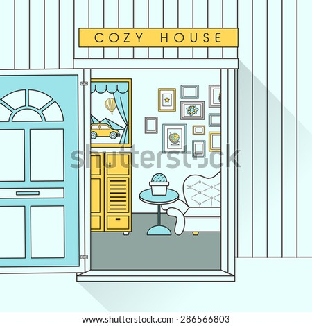 interior scene with sofa in flat line style - stock vector