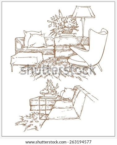 Interior sketch of furniture - stock vector