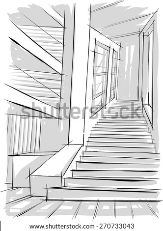 Interior sketch of stairs - stock vector