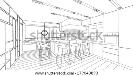 Interior vector drawing. Architectural design. Living room - stock vector
