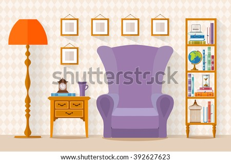 Interior with furniture, bookcase, armchair in flat style. living room. Vector illustration. - stock vector