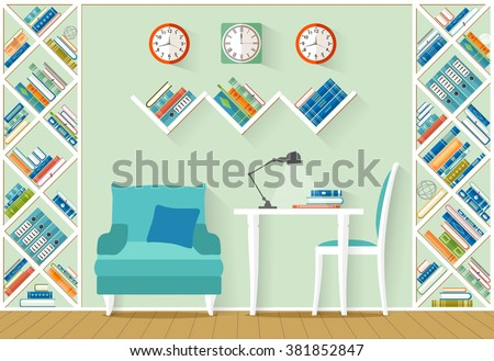Interior with furniture, shelves, books in flat style. The office, home library, study room. Vector illustration.  - stock vector