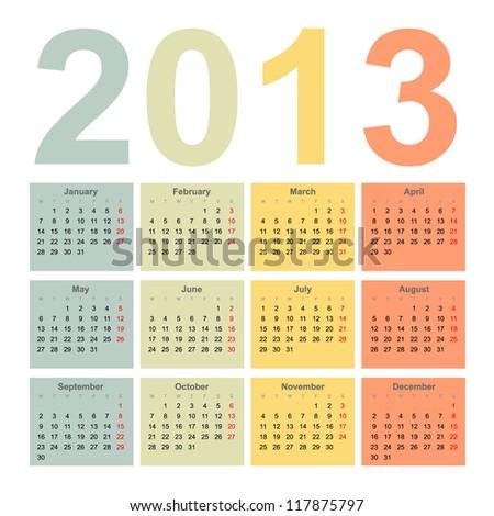 Interior 2013 year vector calendar - stock vector